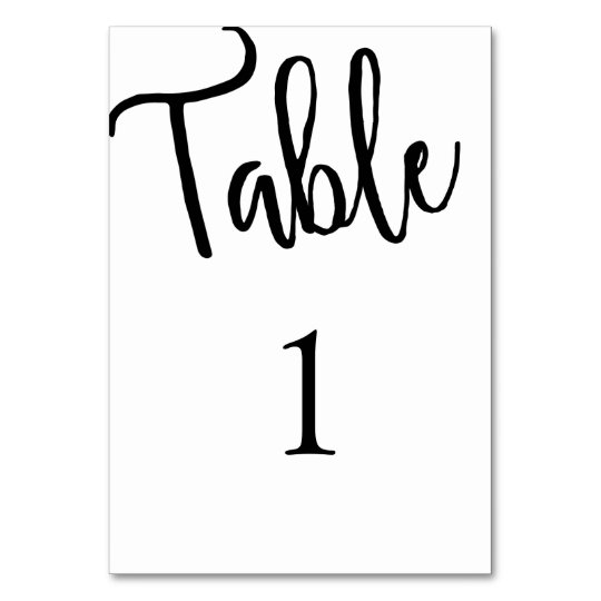 Calligraphy table number. Modern wedding. Simple Card
