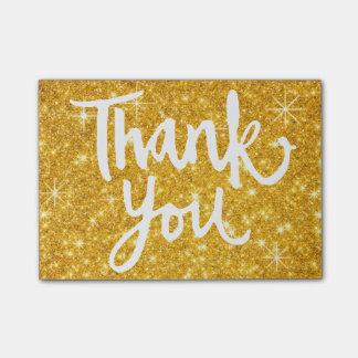 calligraphy thank you script on gold glitter look post-it® notes