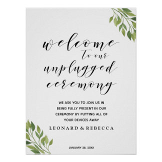 Calligraphy unplugged ceremony greenery sign