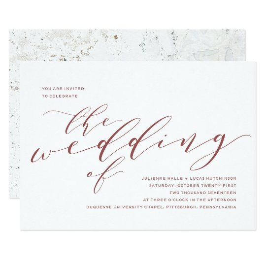 Calligraphy Wedding Invitation | Burgundy Marsala