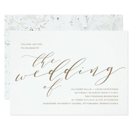 Calligraphy Wedding Invitation   Gold