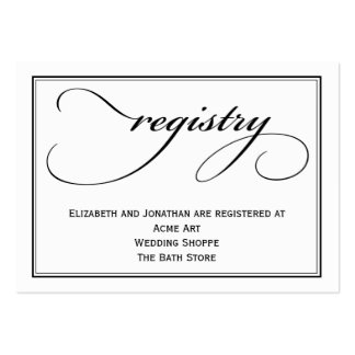 Calligraphy Wedding Registry Information Card Large Business Cards (Pack Of 100)