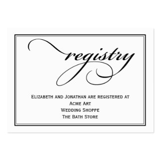 Calligraphy Wedding Registry Information Card Pack Of Chubby Business Cards
