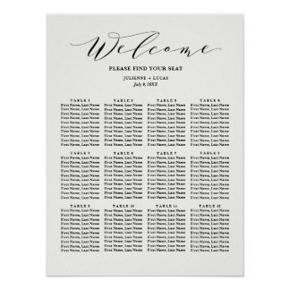 Calligraphy  Wedding Seating Chart | Black