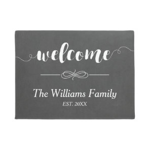 Calligraphy Welcome Chalkboard | Family Name Doormat
