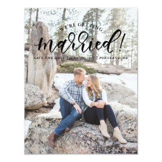 Calligraphy We're Getting Married Save the Date Card
