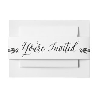 Calligraphy You're Invited Envelope Belly Band Invitation Belly Band
