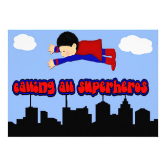 Calling All Superhero's Party Announcements