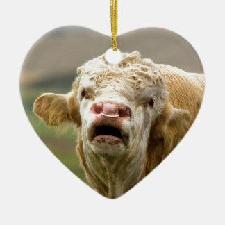 Calling Bull Ceramic Heart Decoration