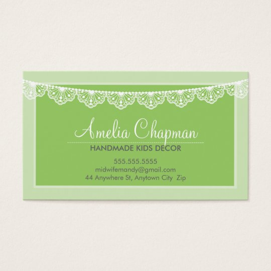 CALLING CARD cute creative lace bunting green