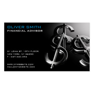 Calling card on black bottom finances and dollar pack of standard business cards