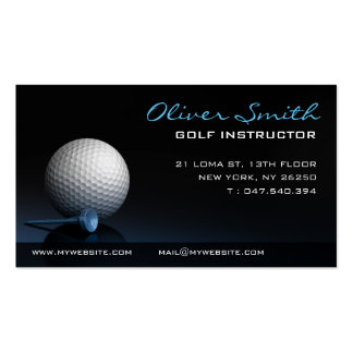 Calling card on black bottom monitor of golf pack of standard business cards
