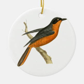 Calling Thrush Bird Illustration Round Ceramic Decoration