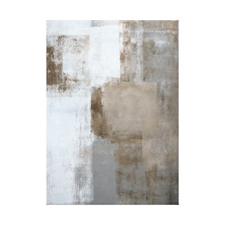 'Calm and Neutral' Grey and Brown Abstract Art Canvas Print
