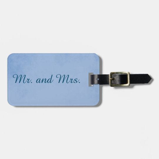 Calm Blue Mr. and Mrs. Parchment Luggage Tag