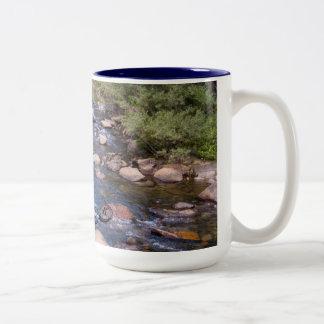 Calm brook, stream in woods. Two-Tone mug