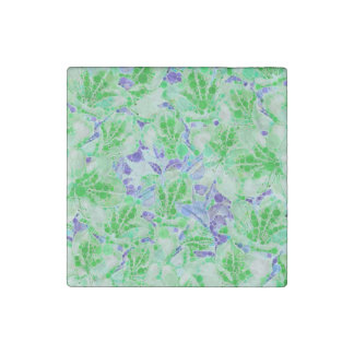 Calm Green Blue Abstract Flowers Stone Magnet