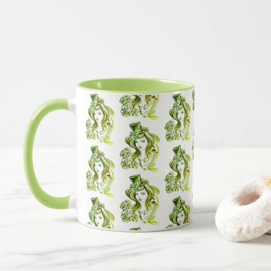 Calm Green Coffee Painting Girl Pattern Combo Mug