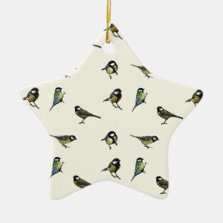 Calm Little Birdie Pattern Ceramic Star Decoration