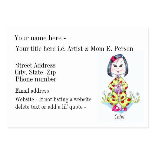 """""""Calm"""" made-to-order business/ calling card Business Card"""