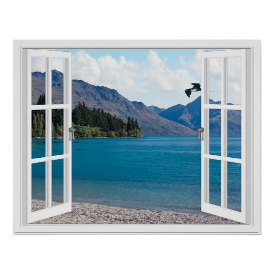 Calm Mountain Lake Artificial Window View Poster