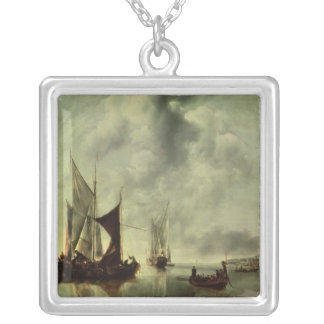 Calm or, Boats near the Coast, after 1651 Silver Plated Necklace