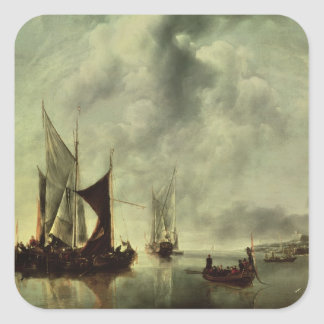 Calm or, Boats near the Coast, after 1651 Square Sticker