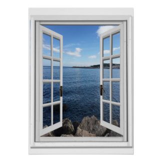 Fake window posters for Poster trompe oeil fenetre
