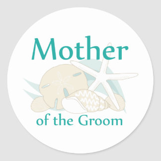 Calm Seashells Mother of the Groom Round Sticker