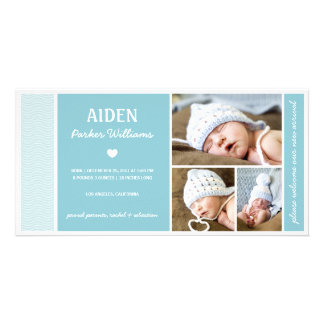 CALM WAVES | BABY BOY BIRTH ANNOUNCEMENT CUSTOMIZED PHOTO CARD