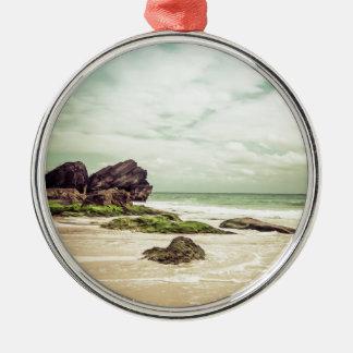 CalmBeach Silver-Colored Round Decoration