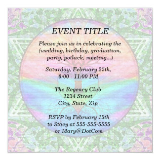 Calming Tree of Life in Rainbow Colors 13 Cm X 13 Cm Square Invitation Card