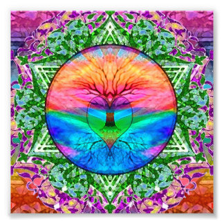 Calming Tree of Life in Rainbow Colors Art Photo