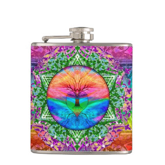 Calming Tree of Life in Rainbow Colors Hip Flask