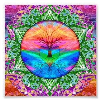 Calming Tree of Life in Rainbow Colors Photo Print