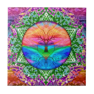 Calming Tree of Life in Rainbow Colors Small Square Tile