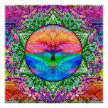 Calming Tree of Life in Rainbow Colours Poster