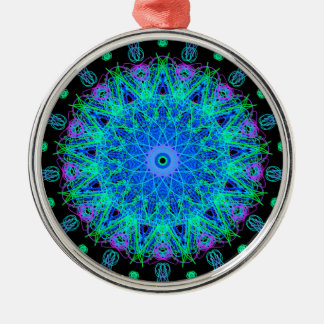 Calming Water Mandala Design Silver-Colored Round Decoration