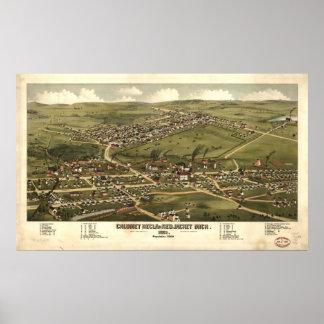 Calumet Michigan 1881 Antique Panoramic Map Print
