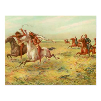 Calvary and Indians Postcard