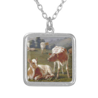 Calves in a Meadow by Briton Riviere Square Pendant Necklace