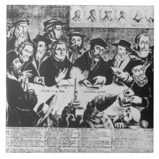 Calvin and Luther (engraving) Large Square Tile