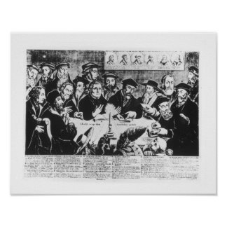 Calvin and Luther (engraving) Poster