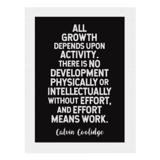 Calvin Coolidge on 'Growth' Motivational Quote Postcard