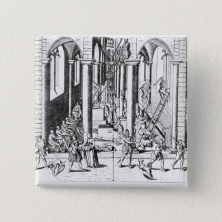 Calvinists destroying statues 15 cm square badge