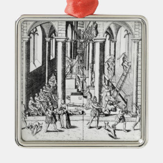 Calvinists destroying statues Silver-Colored square decoration