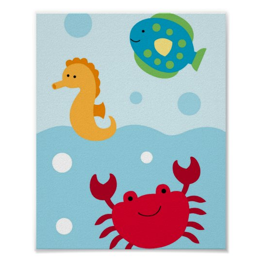 Calypso Crab Fish Nautical Nursery Wall Art Print