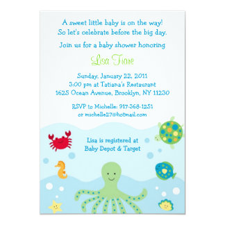 Calypso Sea Creature Ocean Baby Shower Invitations