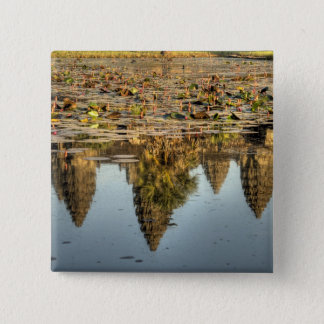 Cambodia, Angkor Wat. Reflection of temple 15 Cm Square Badge
