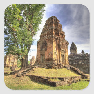 Cambodia, Angkor Wat. View of Bakong Temple. Square Sticker